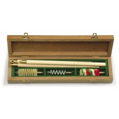 Cleaning kit in wooden case